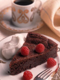Chocolate Cake with Raspberries Photographic Print by Peter Ardito