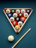 Billiard Balls in Rack with Pool Stick Photographic Print by Richard Harris