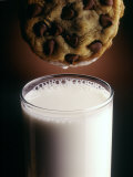 Chocolate Chip Cookie and Milk Photographic Print by John T. Wong