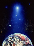 Space Illustration of the Earth and Planets Lmina fotogrfica por Ron Russell