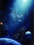 Space Illustration of Illuminated Planets Photographic Print by Ron Russell