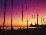 Santa Barbara, CA, Sailboats on Beach at Sunset Photographic Print by Jim Corwin