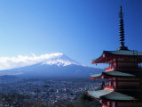 Pagoda and Mt. Fuji, Japan Photographic Print by David Ball