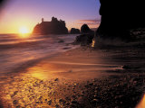 Ruby Beach at Sunset Photographic Print by Peter Adams