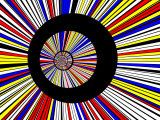 Abstract Fractal Design with Black Circles on Blue, Red, and Yellow Background Fotografisk tryk af Albert Klein