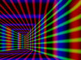 Abstract Design with Blue Red and Green Laser-Like Lines on Black Background Photographic Print by Albert Klein