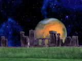 Stonehenge at Night with Mars in Background Photographic Print by Tomas del Amo