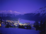 St. Moritz at Night, Switzerland Photographic Print by Walter Bibikow