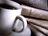 Cup of Coffee by Various Foreign Newspapers Fotoprint van Ellen Kamp