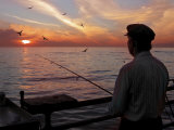 Man Fishing During Sunset, Santa Monica, CA Photographic Print by Dennis Macdonald
