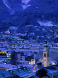 Innsbruck at Night, Austria Photographic Print by Walter Bibikow