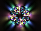Stained Glass Style Pattern on Dark Background Photographic Print by Albert Klein