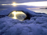 Ice Bridge on Shore of Lake Superior at Little Presque Isle, MI Photographic Print by Willard Clay