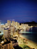 Aerial of Waikiki Beach at Night, HI Photographic Print by Walter Bibikow