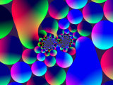 Multi-Coloured Abstract Fractal Pattern with Circular Shapes and Blobs Photographic Print by Albert Klein