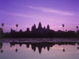 Dusk at Pond, Cambodia Photographic Print by David Ball