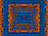 Blue and Orange Morrocan Style Fractal Design Fotodruck von Albert Klein