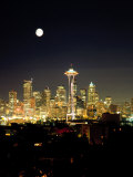 Full Moon, Seattle Skyline, WA Photographie par George White Jr.