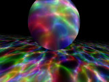 Abstract Bubble Over Multi-Colured Liquid Against Black Background Photographic Print by Albert Klein