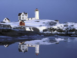 Nubble at Christmas Time in New England Photographic Print by Robert Ginn