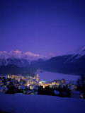 St. Moritz at Night, Switzerland Photographic Print by Walter Bibikow