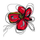 Red Butterfly Flower Fotoprint van Jan Weiss