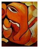 Lord Ganesh Elephant Abstract Reproduction procédé giclée par Lavanya Radhakrishnan