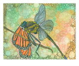 King Dragonfly Vs Monarch Butterfly Giclee Print by Annette Maggio