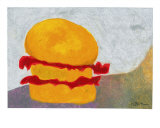 The Orange + Red Burger Giclee Print by Marcella Lassen