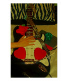 Peace And Guitar Love Giclee Print by Pepita Selles
