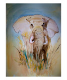Elephant In Field Giclee Print by Leo Gordon