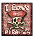 Valentine Pirate Love Giclee Print by Jamie Edwards