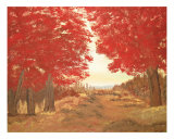 Four Red Maples Giclee Print by Edward Reese