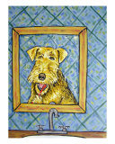 Airedale Terrier Brushing Teeth Giclee Print by Jay Schmetz