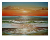 Beach Sunset Giclee Print by Cherie Dirksen