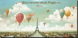 Ballonvaart boven Parijs met Engelse tekst: Ballooning Over Paris Kunst op gespannen canvas van Isiah and Benjamin Lane