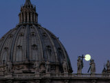 A Full Moon Rises over the Dome of St. Peters Basilica Photographic Print by James L. Stanfield