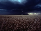 Lightning Flashes Above a Kansas Wheat Field Fotografisk tryk af Cotton Coulson