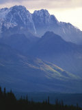 Chugach Mountains Rise into the Twilight Sky, Seen from Glenn Highway Photographic Print by Michael Melford