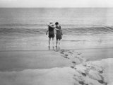 Alexander Graham Bell and His Daughter Walk into the Lake Photographic Print by Bell Family