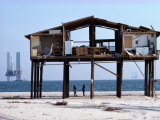 View of a beach house damaged by a hurricane, Giclee Print