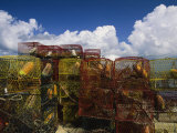 Stacks of Crab Pots with Floats Sitting at the Waterside Photographic Print by Medford Taylor