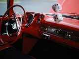Fuzzy Dice and Cherry Red Interior of a Classic Car Photographic Print by Stephen St. John