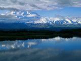 Cloud-Enshrouded Mt. Mckinley Reflected in Wonder Lake Photographic Print by Anne Keiser
