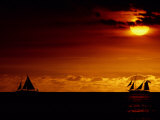 Sailboats Silhouetted on the Pacific Ocean at Twilight Photographic Print by Robert Madden