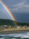 A Rainbow over Pacific City Photographic Print by Phil Schermeister
