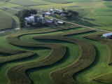 A Farm with Curved and Twisting Fields Photographic Print by Paul Chesley