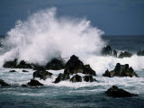 Waves Crashing against Rocks Photographic Print by George F. Mobley