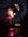 View from Across the Potomac River of a Fireworks Display over the Lincoln Memorial Photographic Print by Medford Taylor