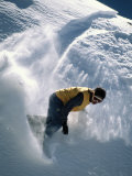 A Man Snowboarding in the San Francisco Peaks Photographic Print by Bill Hatcher